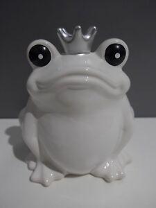 Spardose-Keramik-Frosch-Hochglanz-Weiss-Gross-XL-Gelddose-Sparbuechse-Deko-Qualitaet