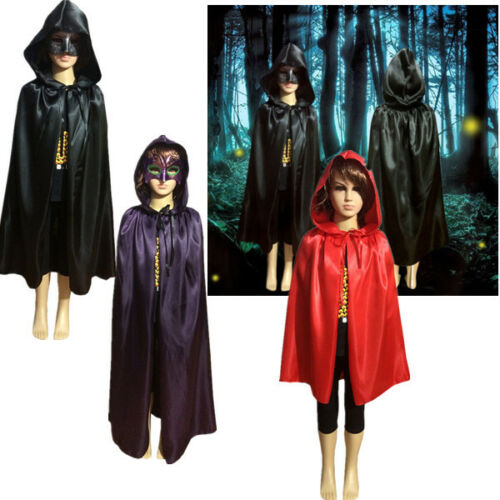 HALLOWEEN Cosplay VAMPIRE MAGICIAN COSTUME Hooded CAPE Kids Cloak Wicca Robe NEW
