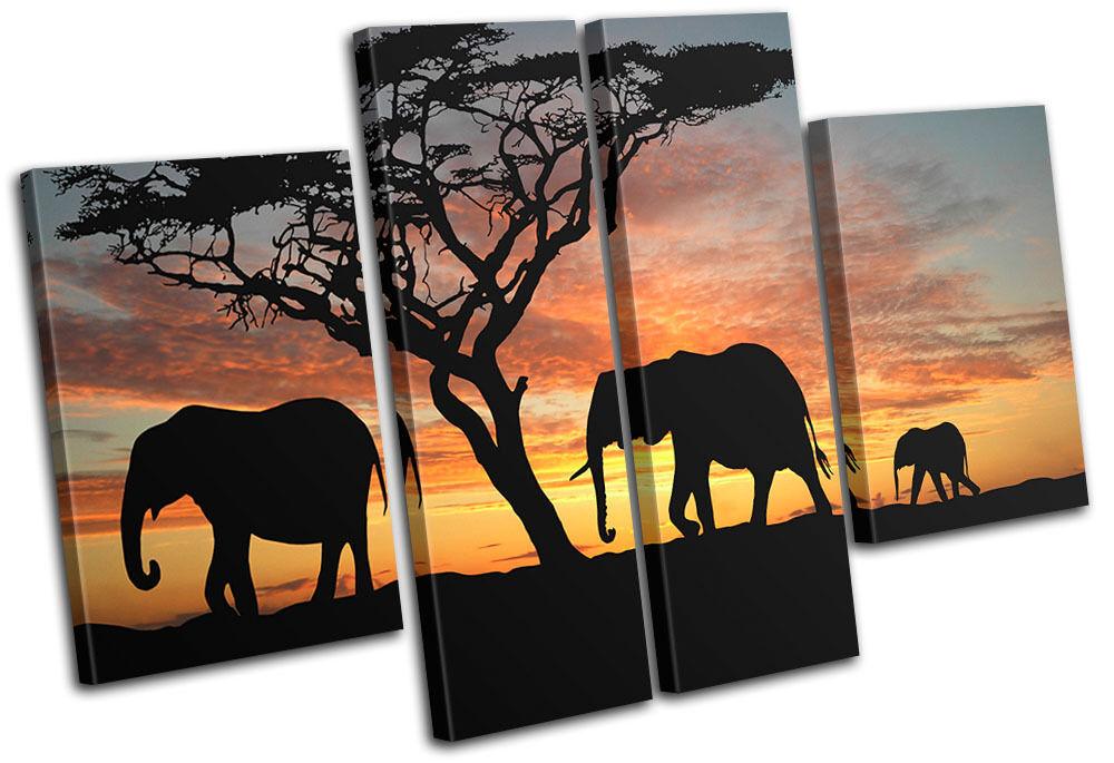 Elephants African Sunset Animals MULTI LONA impresion pared arte Foto impresion LONA 56b83f