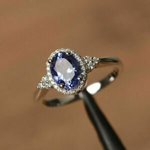 2Ct-Oval-Cut-Blue-Tanzanite-Engagement-Wedding-Ring-14K-White-Gold-Over