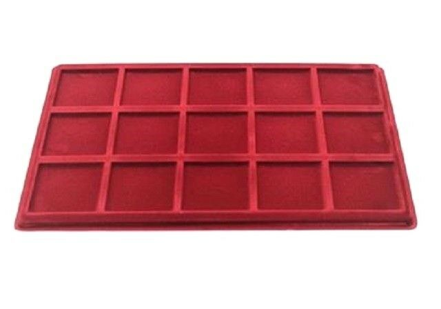 Red COIN TRAY Collection for Coins or Medals - Compartment Size 55x55mm UK (P15)