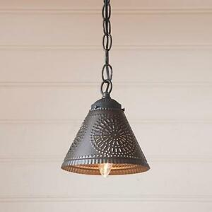 Country new small CRESTWOOD black punched tin shade hanging light ...