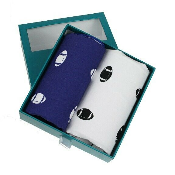 Blue and White Rugby Handkerchief Gift Set (66-HR-30)