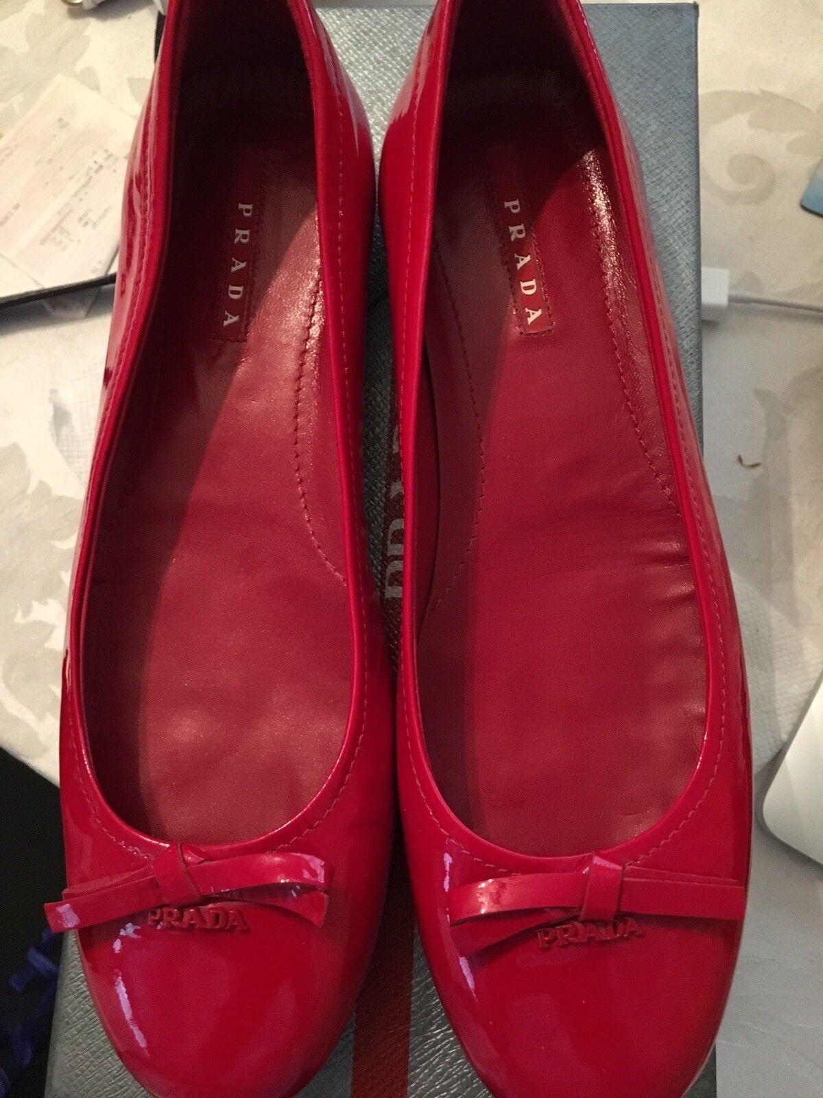 100% Auntentic ROT Prada Ballet  Leder Size Flats Size Leder 8 a40a03