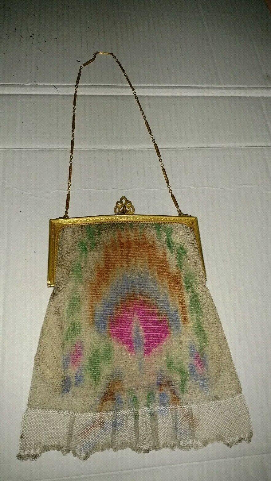 Vintage Art Deco Yellow Purse  Whiting and Davis Enamel Beadlite  Antique Reticule Whiting and Davis Mesh Handbag