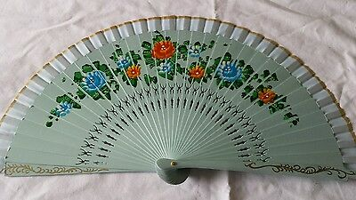 Hand Fan 9 inches hand painted and carved wood Teal US seller