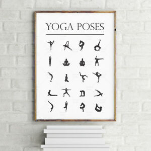 Image Is Loading A3 A4 YOGA POSES CHART POSTER POSTURES Inspiratioal