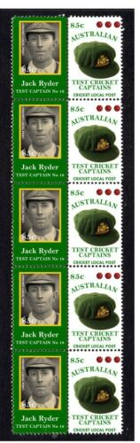 AUSTRALIAN TEST CRICKET CAPTAIN STRIP OF 10 MINT VIGNETTE STAMPS, JACK RYDER 2