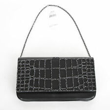 JUDITH LEIBER $1,995 black leather clutch crystal studded Liloe bag purse NEW