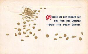 Should-Todo-mi-Deseos-Vuelta-en-Dolares-Relieve-Dorada-Saludo-Postal-c1910s
