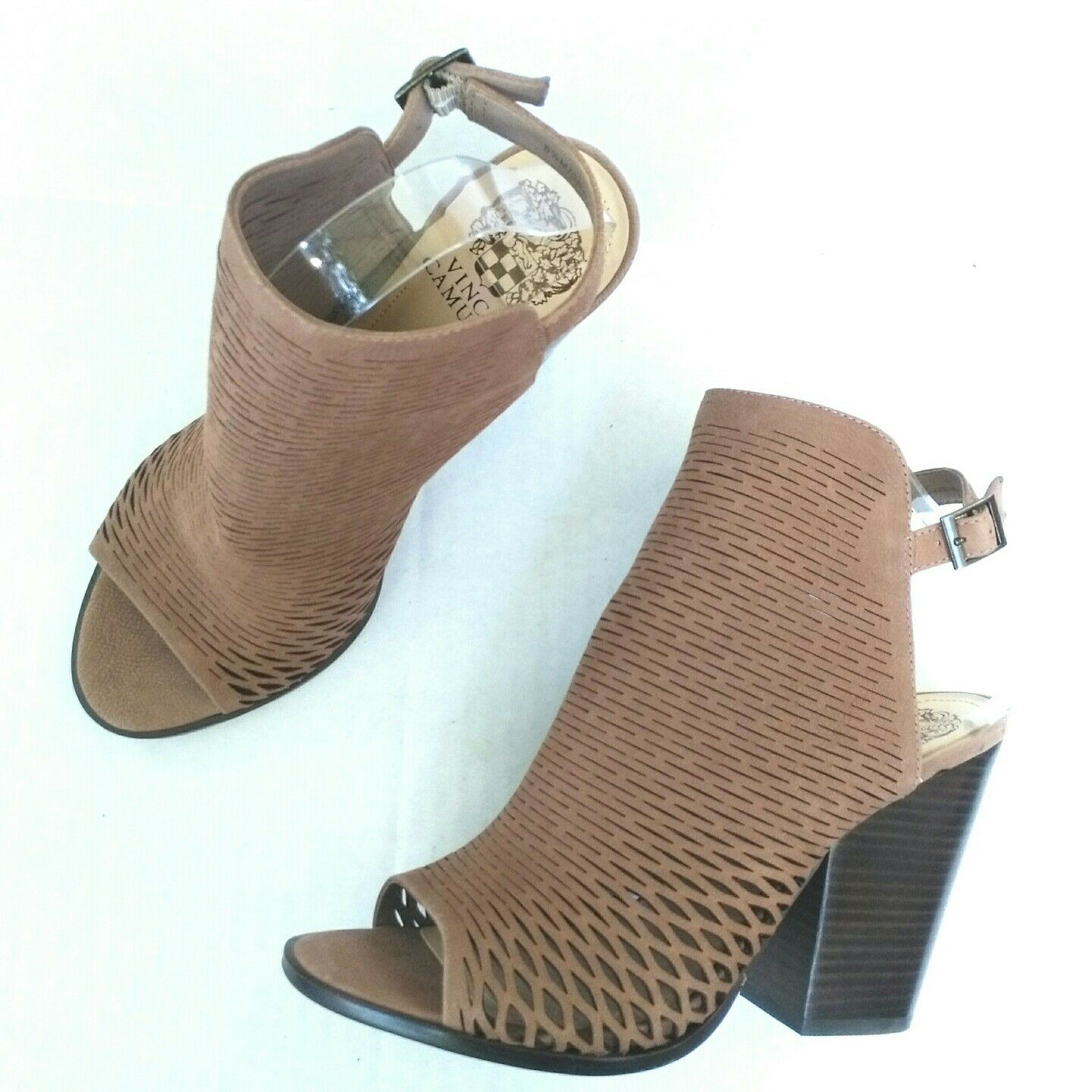 Vince Camuto Madesti Perforated Leather Leather Leather Open Toe Block Heel Sandal Bootie Sz 8.5 54c4e4