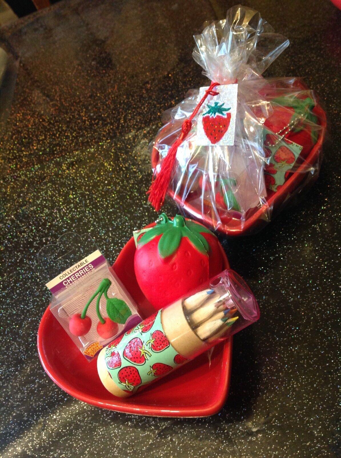 Retro🍓Strawberry Squishy +Pencil Set+Cherry Eraser +Heart Trinket Bowl 4pc Set