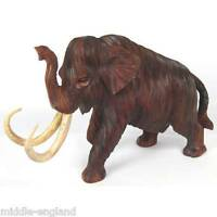 Large Woolly Mammoth Sculpture 48cm Suar Wood Hand Carved Prehistoric Animal