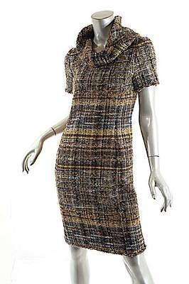 OSCAR de la RENTA Multi Color Wool Blend Tweed Dress w/Cowl Neck-$3500- US 6