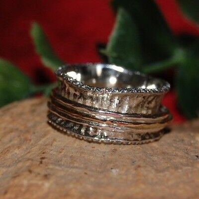 New Rose Gold 925 Sterling Silver Spinner Handmade Ring Jewelry Ring Size