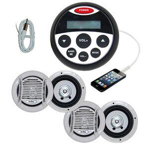 Bluetooth Marine Radio Stereo Kit MP3/USB/FM/Ipo<wbr/>d Radio+ 4 Speakers + Antenna