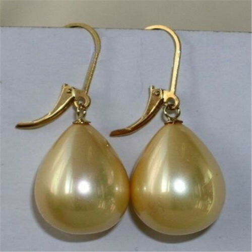 14-18mm south sea golden shell pearl earrings 18K elegant earbob CLASP hand-made