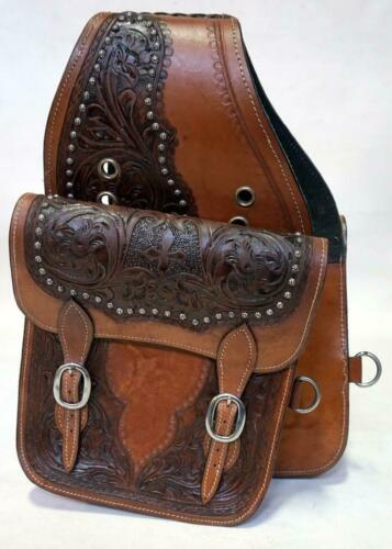 """Assorted Western Saddle Bags-5 designs Tan Med Oil Fully Toold 10x10x3/"""" Sale New"""
