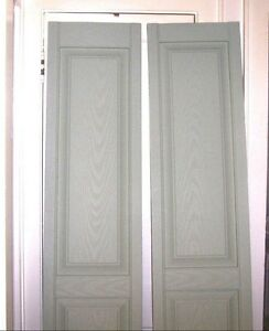 New Pair Raised Panel Vinyl Shutter Sage Green 14 3 4 X 80 Exterior Window Tapco Ebay