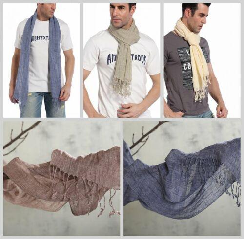 200cm fransen Unifarbe einfarbig meliert Schal 100/% Leinen Herrenschal Farbwahl