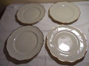 4-Winterling-Marktleuthen-Bavaria-China-Dinner-Plates-Gold-Trim