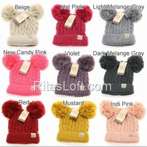 926369914 Details about NWT! C.C Beanie Kids Chunky Cable Knit Hat Cap with Double  Pom - Approx Age 2-7