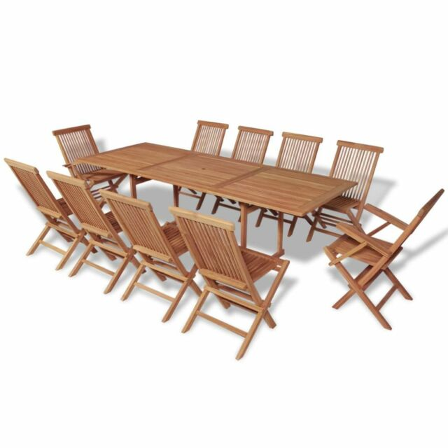 Garden Dining Set Teak Wood 10 Chairs Table Folding Chair Patio Porch Furniture Ebay