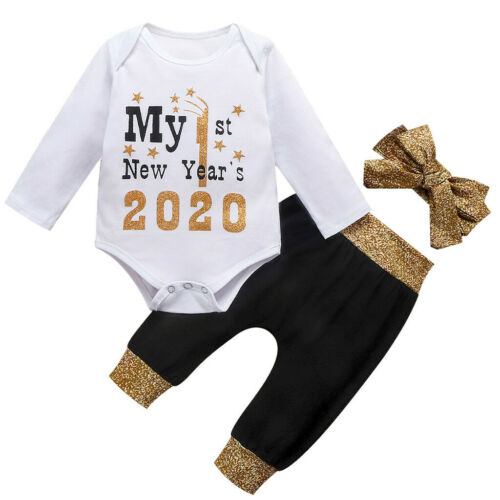 3PCS Infant Baby Girl Boy Kid Letter New Year Long Sleeve Top Pants Trousers Set