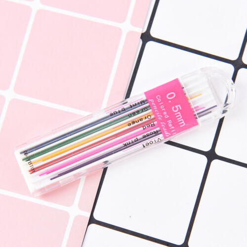 1box 0.5mm Colored Mechanical Pencil Refill Lead Erasable Student Stationary HF