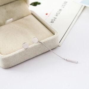 Women-925-Sterling-Silver-6mm-Round-Plate-Bar-Pendant-Stud-Earrings-Asymmetric