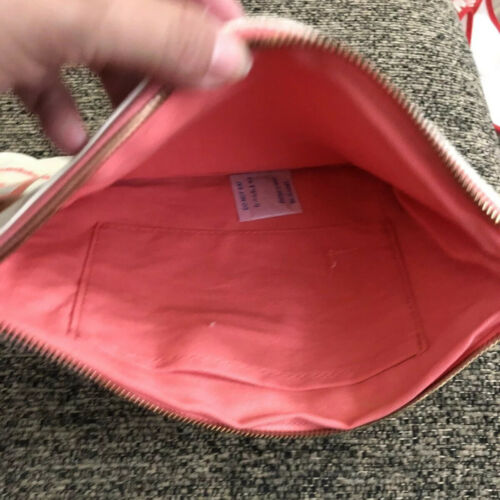 NEW Poppin Brand Slim Pouch Bag Accessory Pouch  With Pink Work Happy Canvas
