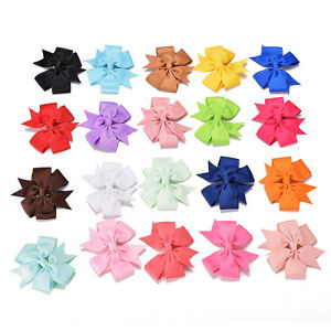 20Pcs-Baby-Girls-Boutique-Big-Bow-Hair-Clips-Grosgrain-Ribbon-Hairpin-EO
