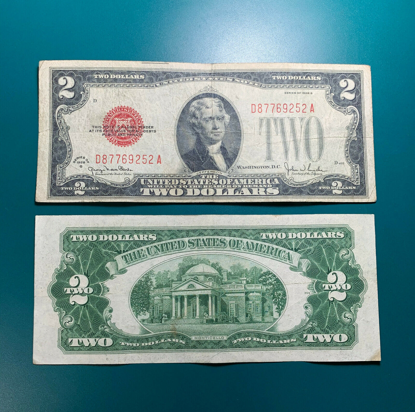 1928 G $2 Two Dollar Red Seal Legal Tender Note Old Currency Circulated FR#1508 1