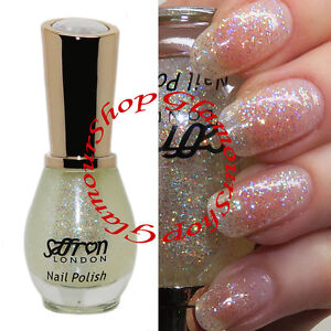 Clear Nail Polish With IRIDESCENT GLITTER By Saffron