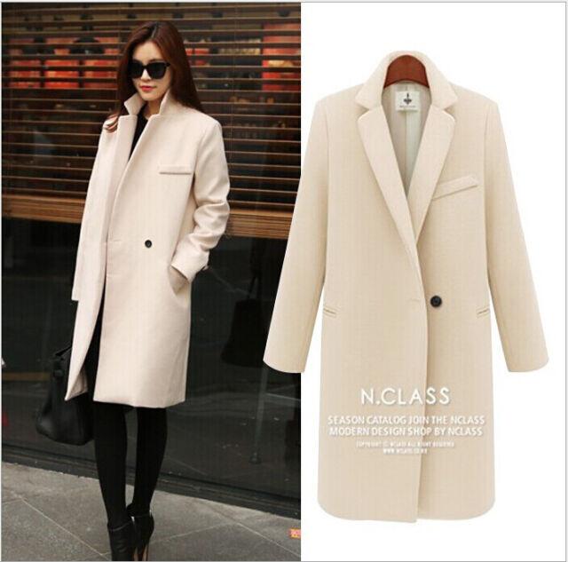 Hot fashion Women Winter Slim Long Parka Sexy Woollen Coat Jacket Overcoat New