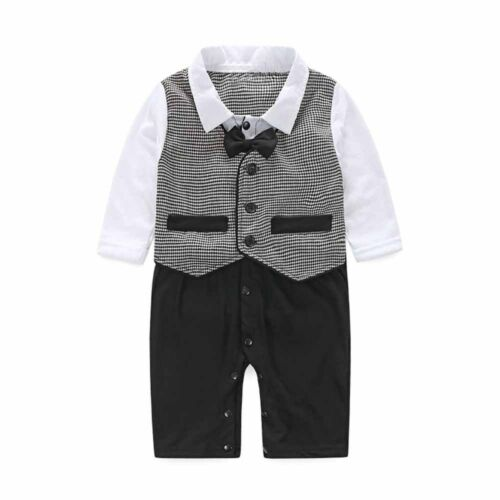 Toddler Baby Boy Bow Tie Suit Formal Party Christening Wedding Tuxedo Waistcoat