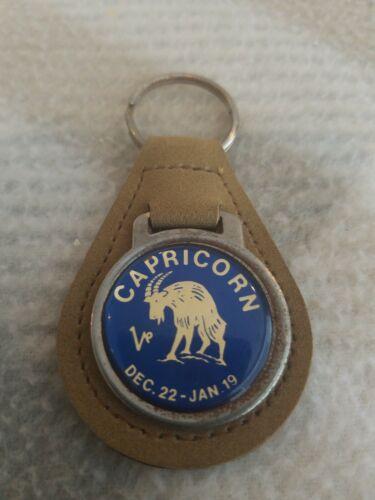 NEW NOS Vintage Capricorn Leather Keychain Zodiac Sign Key Ring STOCKING STUFFER