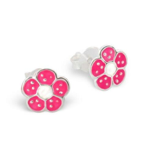 Girls CHILDRENS Sterling Silver PINK Flower Stud Earrings Macaroon GIFT Box