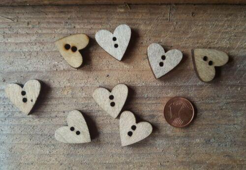 Herz Holzknöpfe Knopf 2 Löcher natur