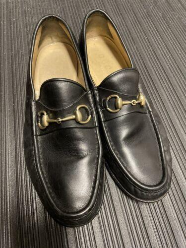 Gucci Gold Horsebit Black Loafers Men Size 10.5