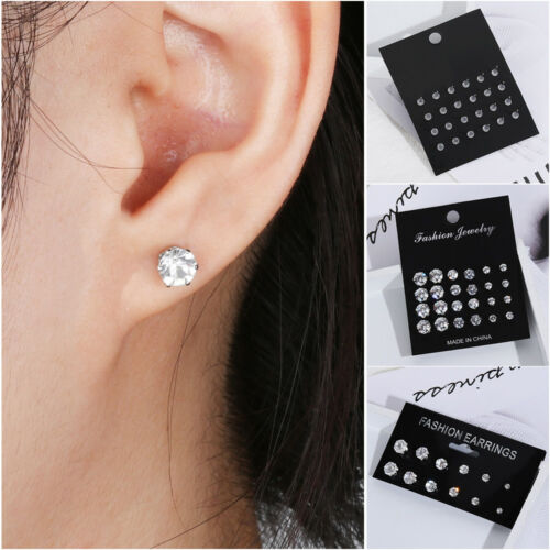 Women 6//12 Pairs Exquisite Crystal Elegant Simple Zircon Earring Sets Gifts