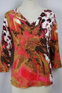 Details zu Luxus! Damen Pullover Pulli Leoprint Blumenmuster Perlenstickerei von Imagini