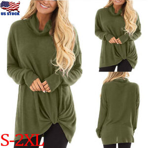 Women-Long-Sleeve-Turtle-Neck-Casual-Knit-Sweater-Jumper-Tops-Loose-Blouse-Shirt