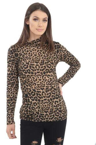 LADIES LONG SLEEVE STRETCH POLO TURTLE ROLL NECK TOP ANIMAL LEOPARD PRINT 8-20