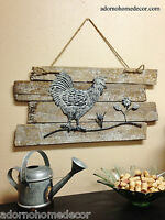 Rustic Wood Rooster Wall Decor White Distressed Shabby Antique Cottage Chic