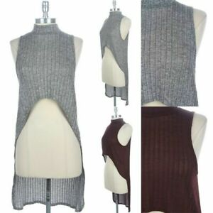 3 Tiered Front High Low Hem Tank Top Sleeveless Round Neck Casual Rayon S M L