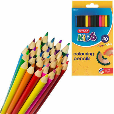 COLOURING PENCIL PACK 30 x LARGE COLOURING SET FOR SCHOOL CLASS CHILDREN//KIDS