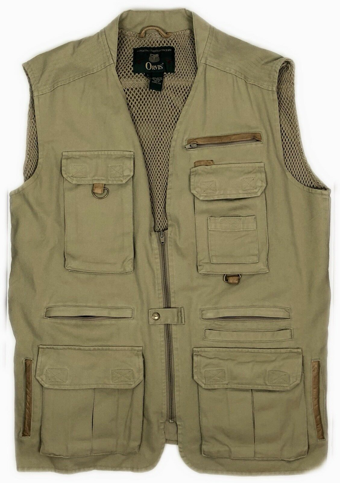 ORVIS Large 100% Cotton Leather Trim Hunting Fly Fishing Tactical Vented Vest