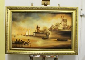 Painting-Oil-Picture-Frame-Sea-Ships-95500