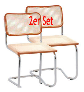 2erset holm thone freischwinger holzsitz natur stuhl schwingstuhl chrom geflecht ebay. Black Bedroom Furniture Sets. Home Design Ideas